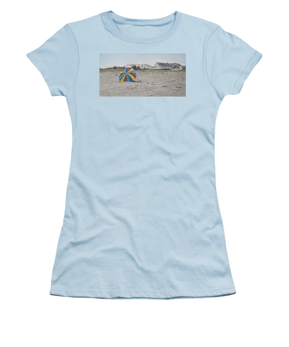 Beach Umbrella Women's T-Shirt (Athletic Fit) featuring the painting Shore Dreams by Lea Novak