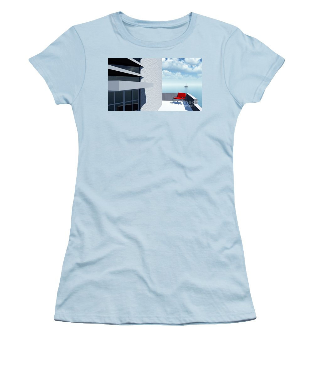 Contemporary Women's T-Shirt (Athletic Fit) featuring the digital art Simple Pleasures by Richard Rizzo