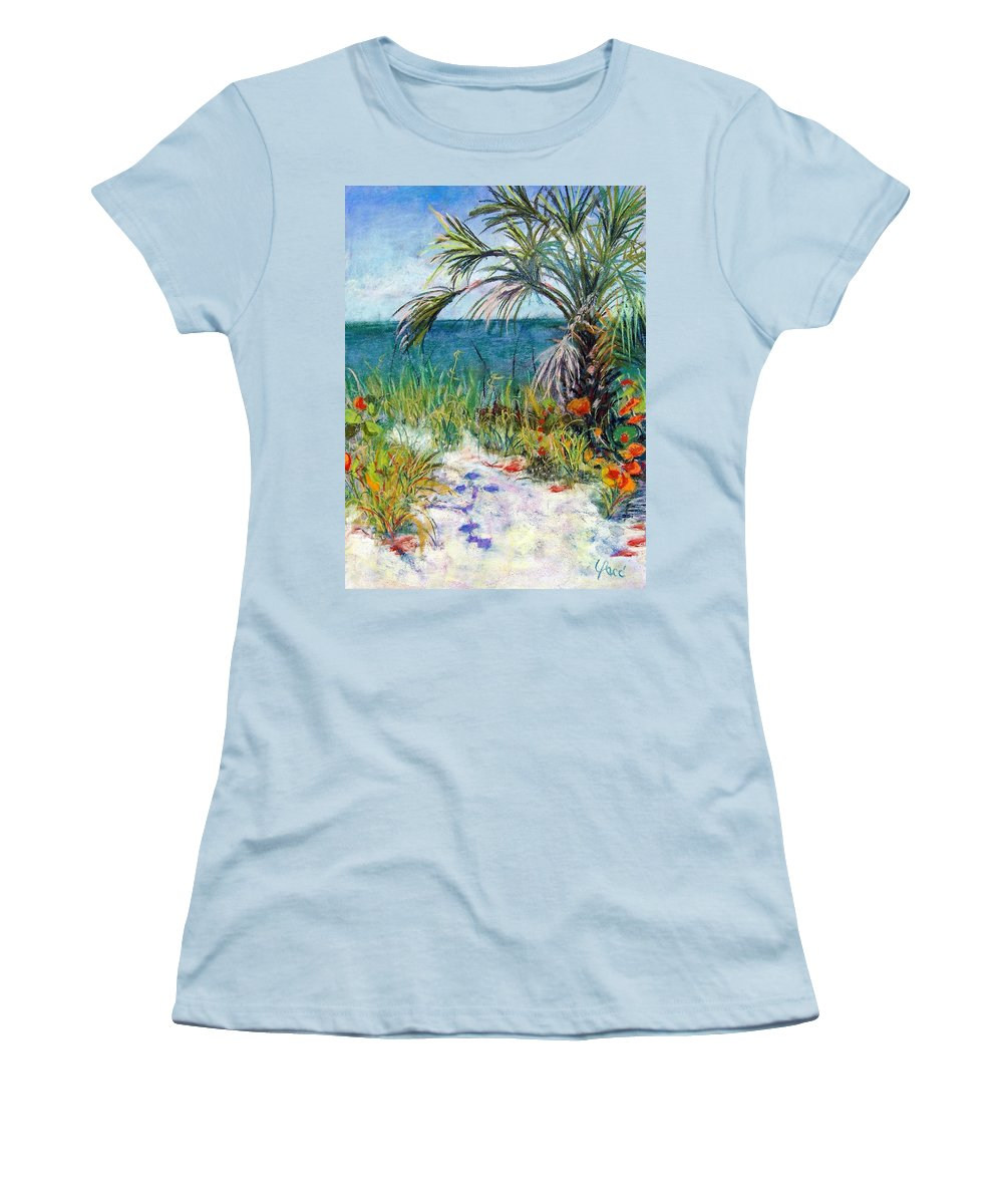 Wiggins Pass Women's T-Shirt (Athletic Fit) featuring the painting Sitting At Wiggins Pass by Laurie Paci