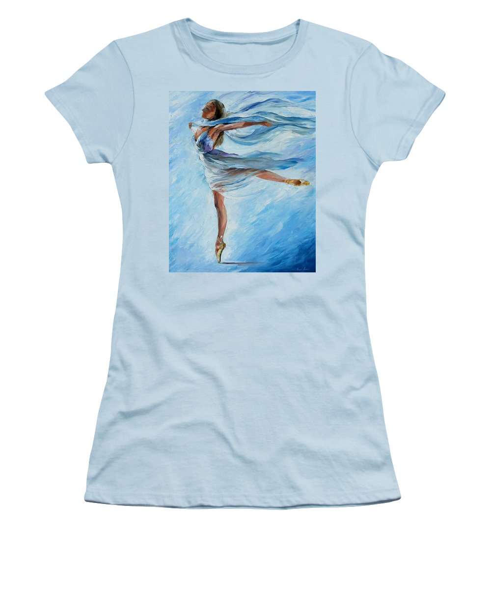 Ballet Women's T-Shirt (Athletic Fit) featuring the painting Sky Dance by Leonid Afremov