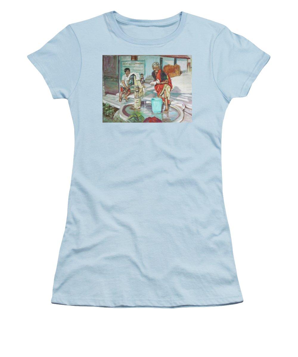 Usha Women's T-Shirt (Athletic Fit) featuring the painting Smile Plz by Usha Shantharam