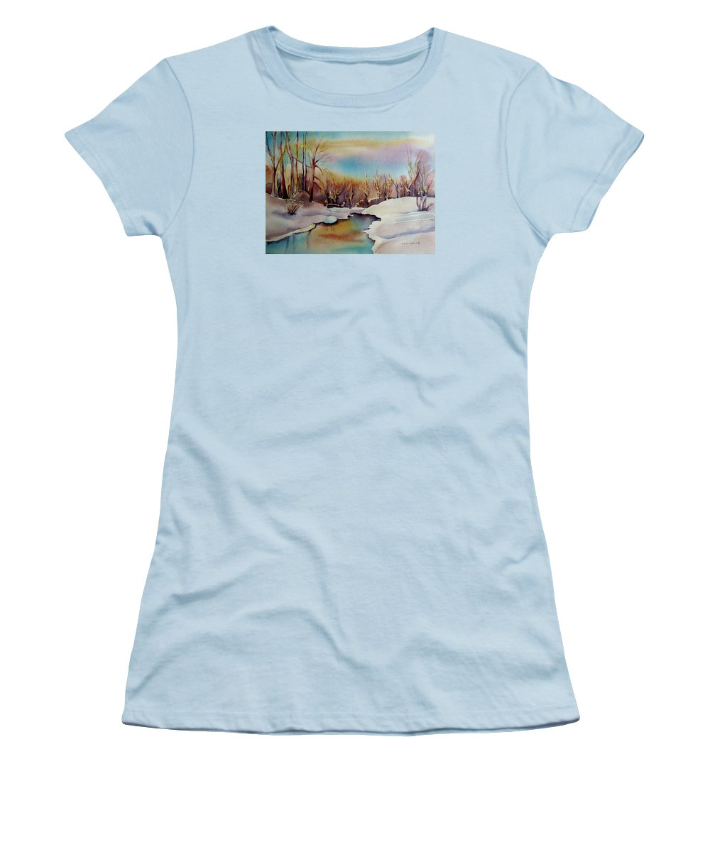 Winterscene Women's T-Shirt (Athletic Fit) featuring the painting Snowfall by Carole Spandau