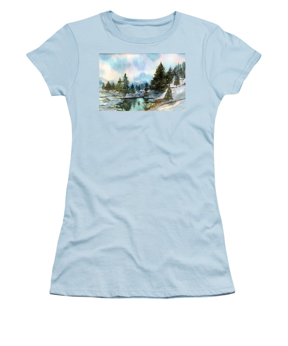Watercolor Women's T-Shirt (Athletic Fit) featuring the painting Snowy Lake Reflections by Debbie Lewis