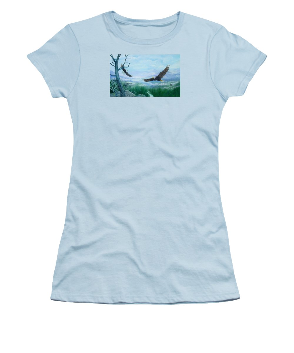 Eagles;birds;river Valley;mountains;sky; Women's T-Shirt (Athletic Fit) featuring the painting Soaring by Lois Mountz