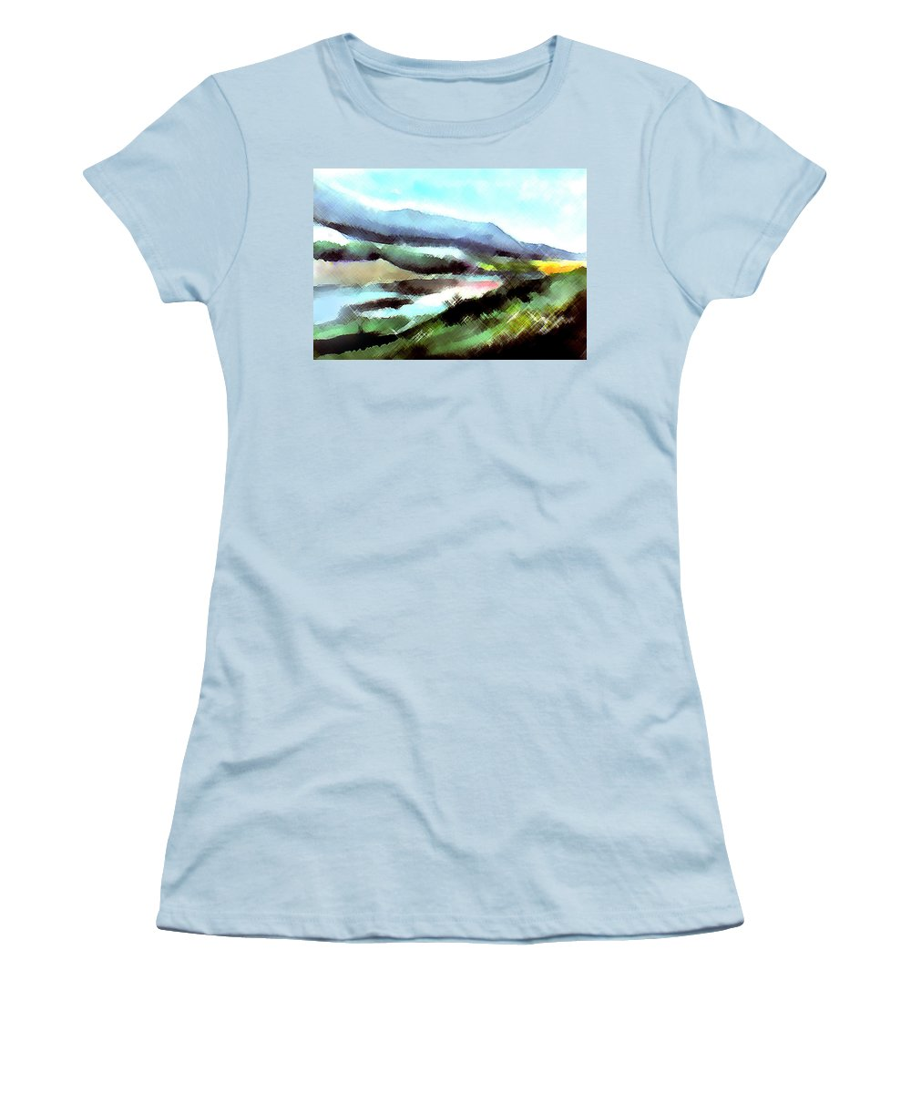 Digital Art Women's T-Shirt (Athletic Fit) featuring the painting Sparkling by Anil Nene