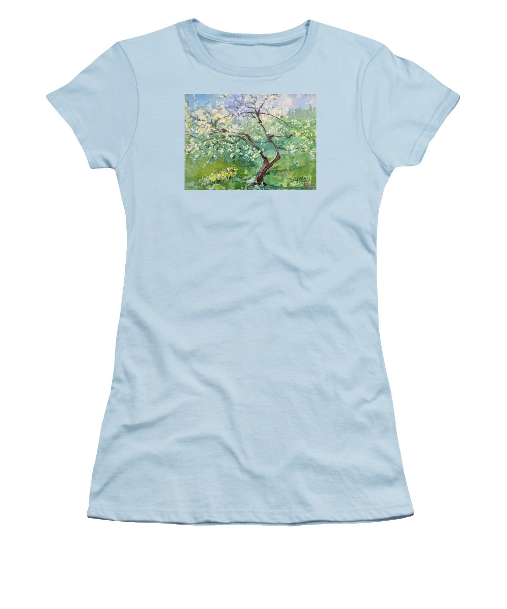 Plum Tree Women's T-Shirt (Athletic Fit) featuring the painting Spring Plum by Elizabeth Carr