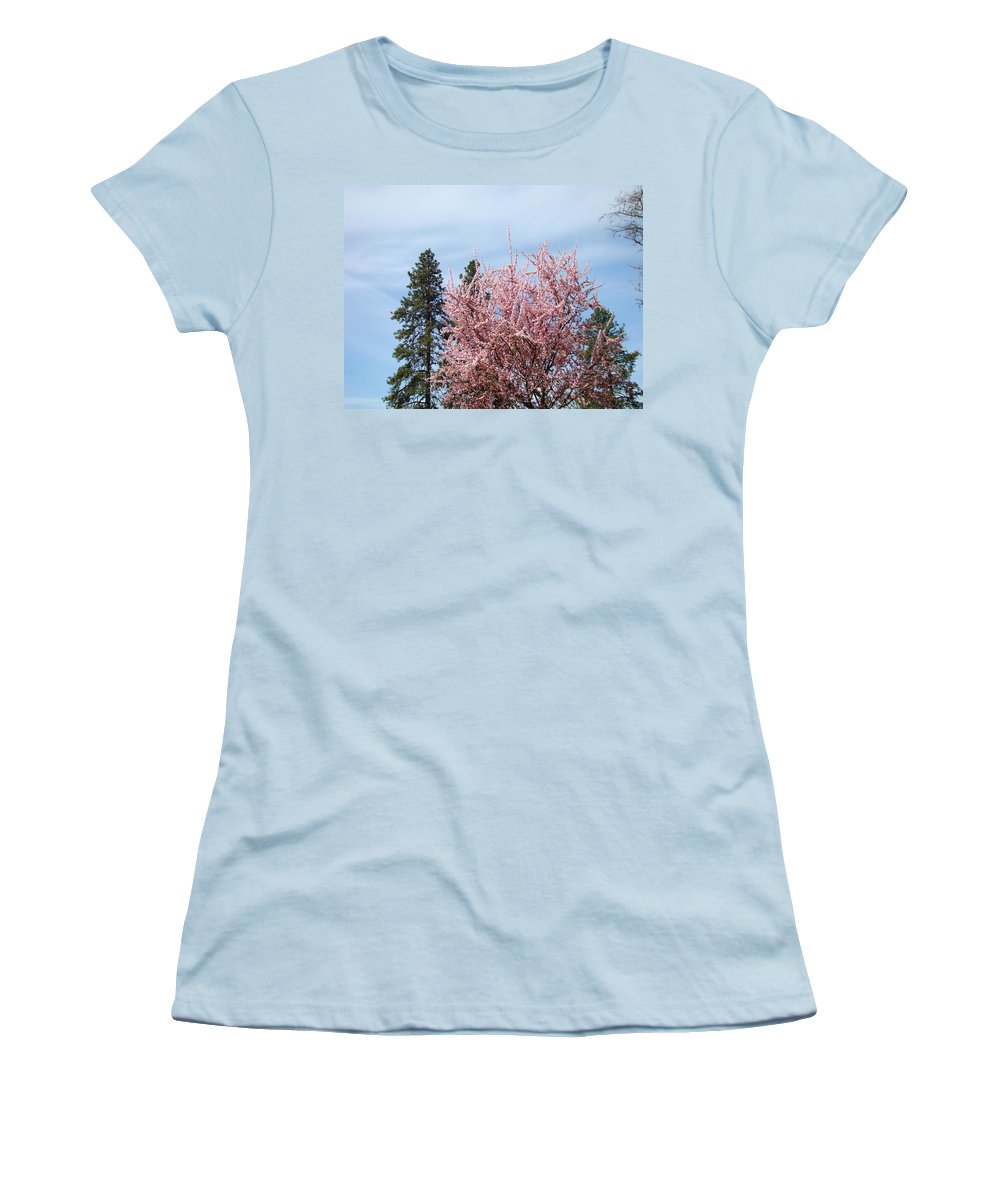 Trees Women's T-Shirt (Athletic Fit) featuring the photograph Spring Trees Bossoming Landscape Art Prints Pink Blossoms Clouds Sky by Baslee Troutman