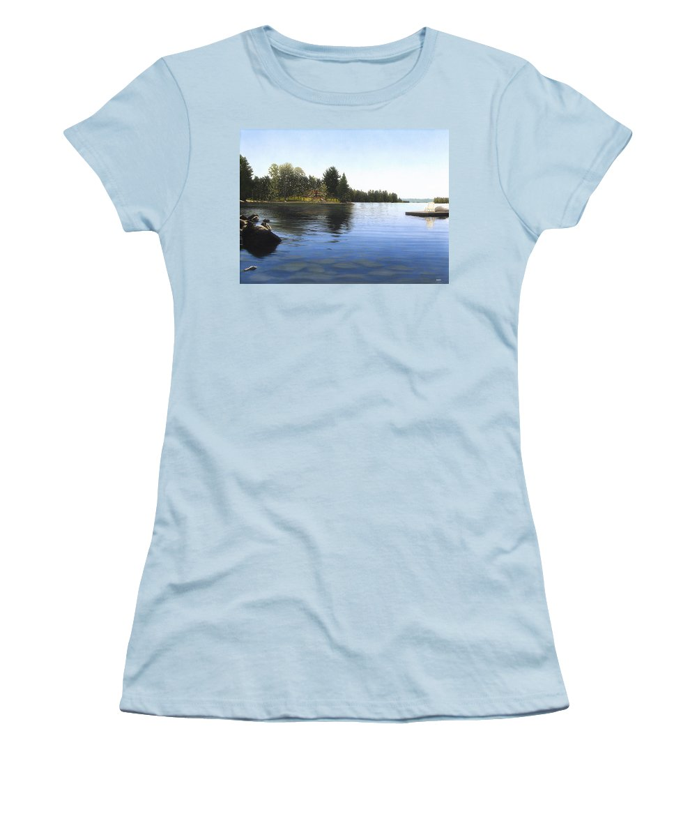 Landscapes Women's T-Shirt (Athletic Fit) featuring the painting Stoney Lake by Kenneth M Kirsch