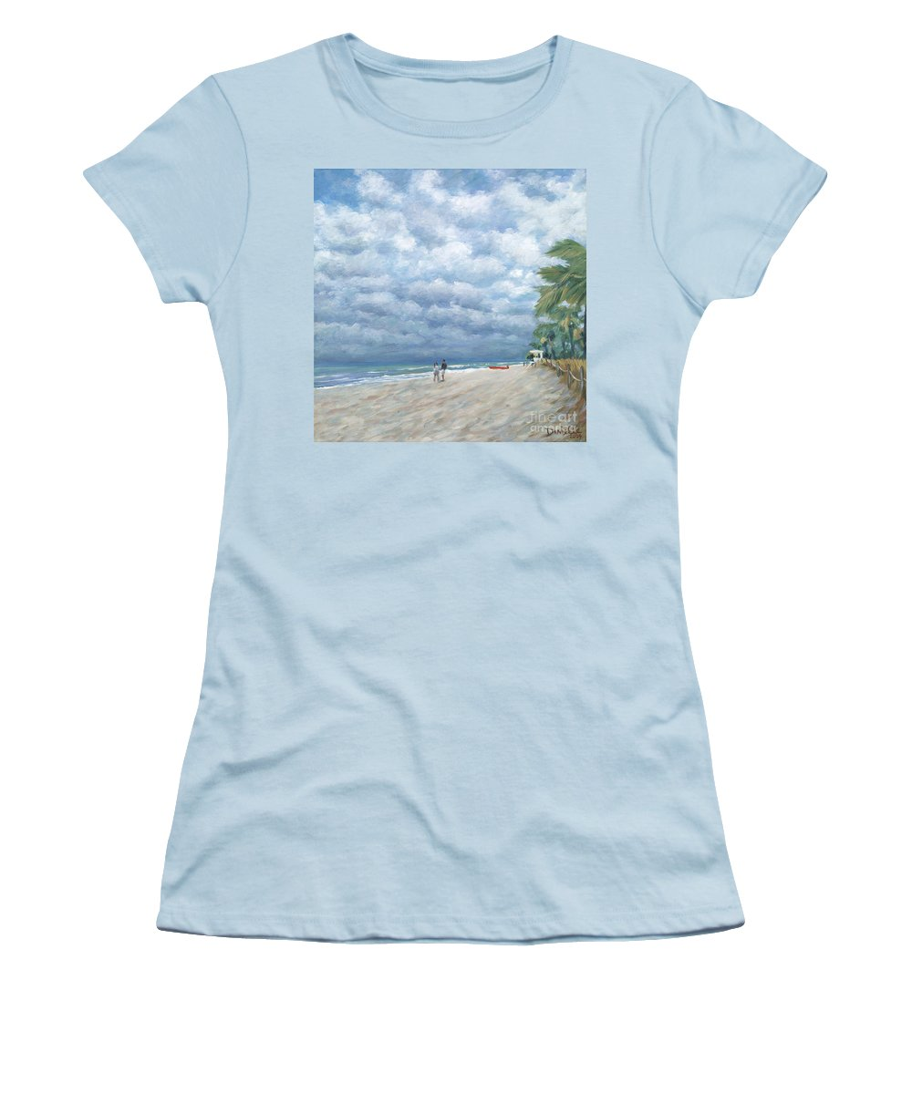 Fort Lauderdale Women's T-Shirt (Athletic Fit) featuring the painting Storm On The Horizon by Danielle Perry