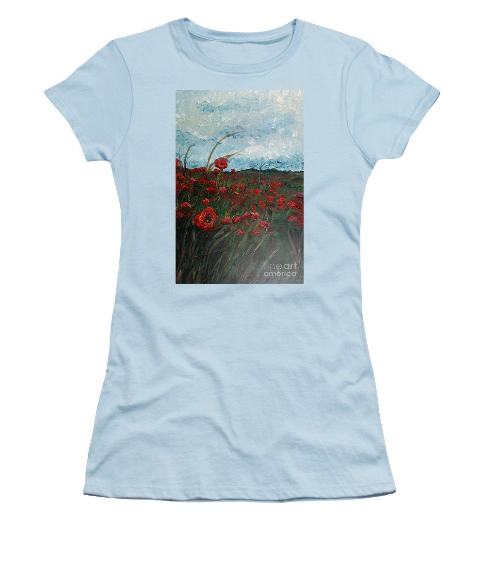 Poppies Women's T-Shirt (Athletic Fit) featuring the painting Stormy Poppies by Nadine Rippelmeyer