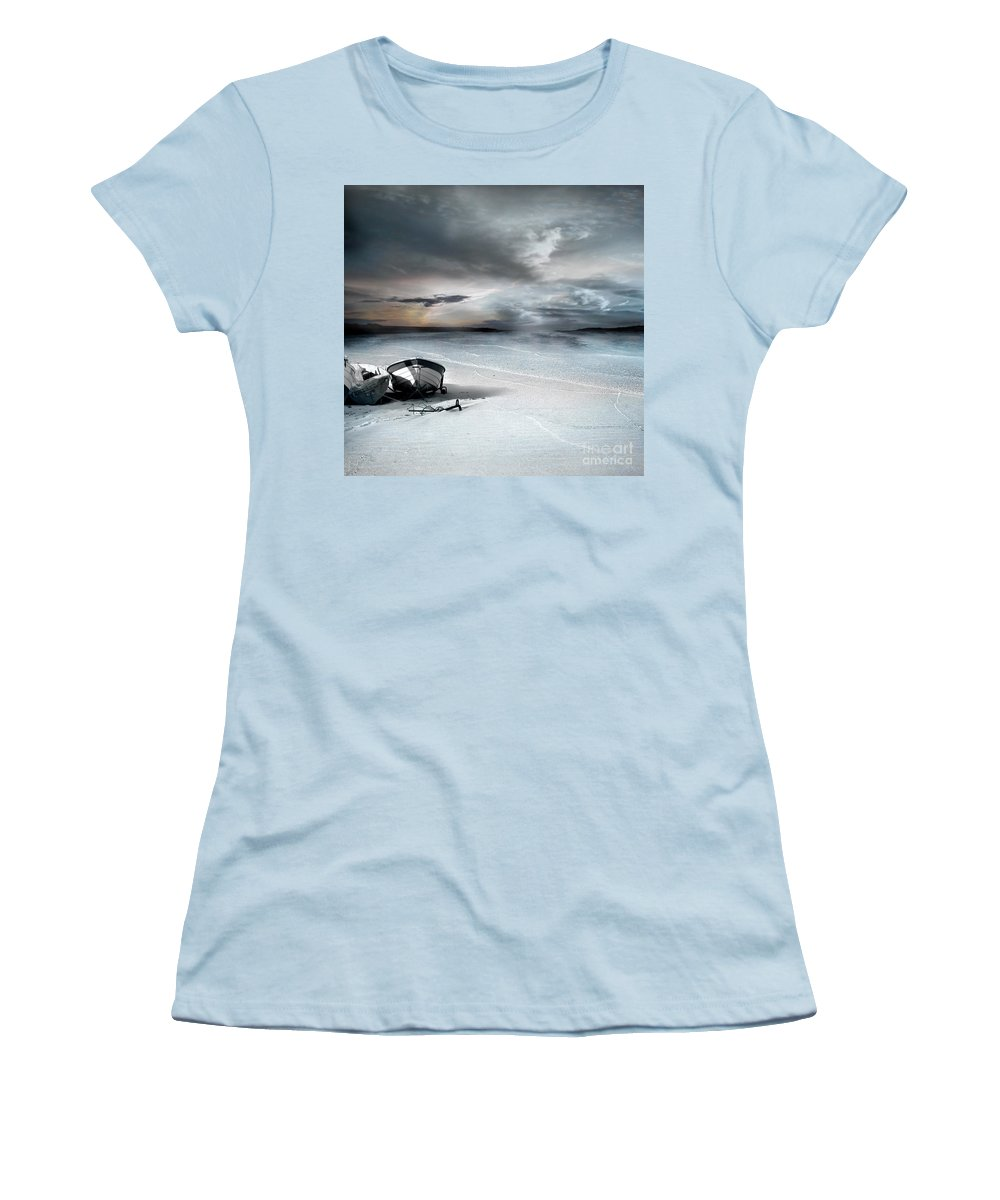 Water Women's T-Shirt (Athletic Fit) featuring the photograph Stranded by Jacky Gerritsen