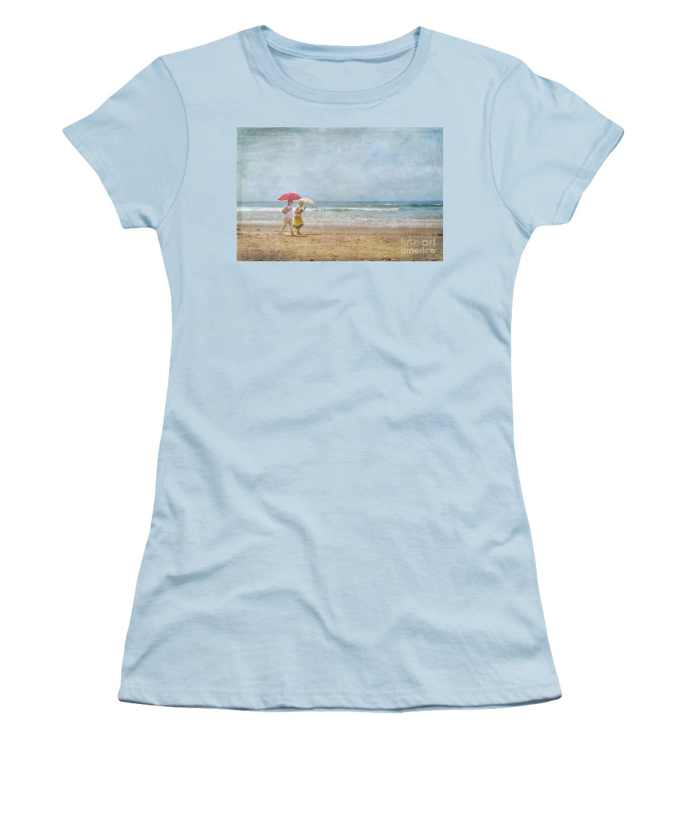 Two Elderly Women Strolling On Beach Shaded By Colorful Umbrellas Women's T-Shirt (Athletic Fit) featuring the photograph Strolling On The Beach by David Zanzinger