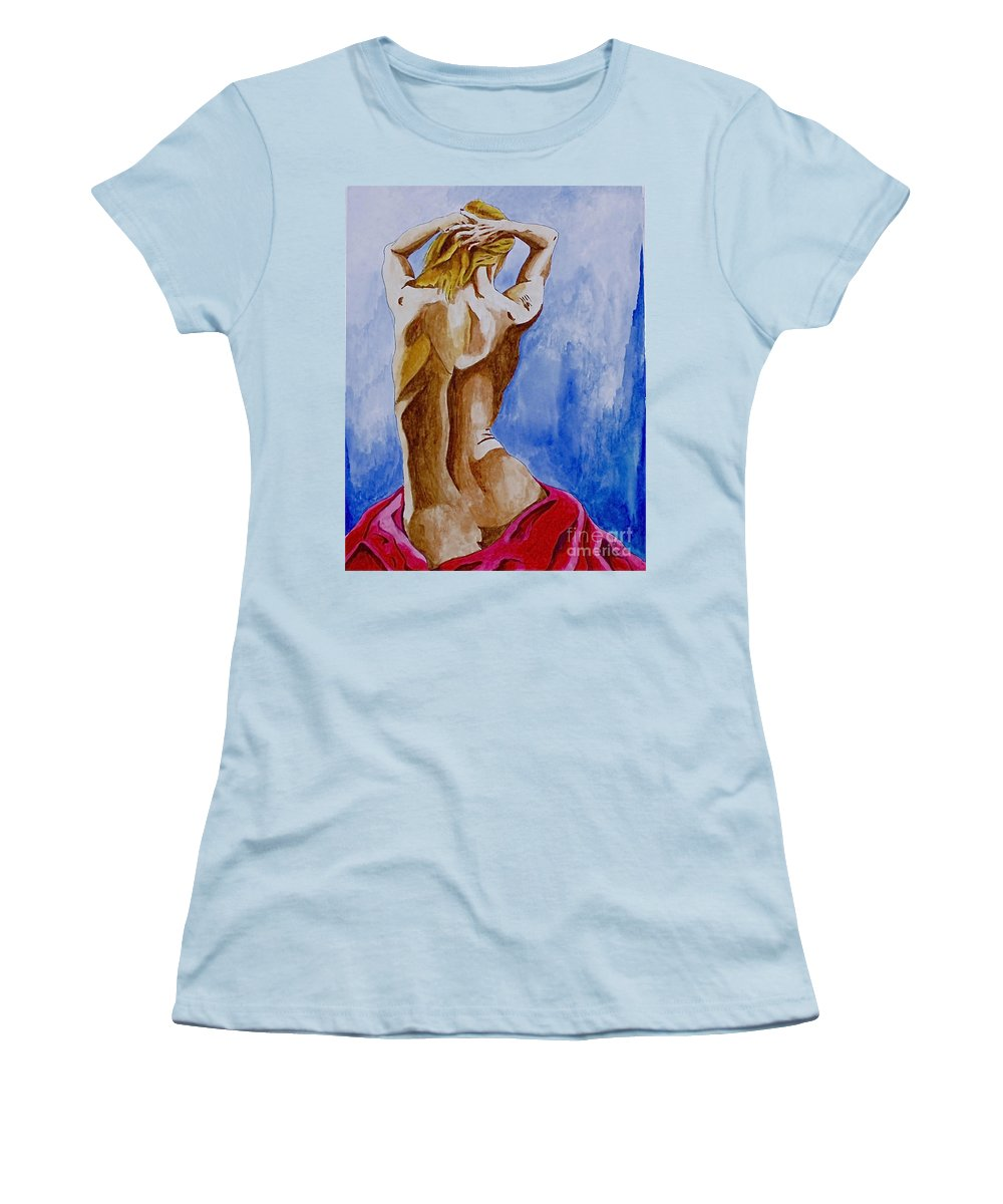Nude By Herschel Fall Very Hot Nude Women's T-Shirt (Athletic Fit) featuring the painting Summer Morning by Herschel Fall