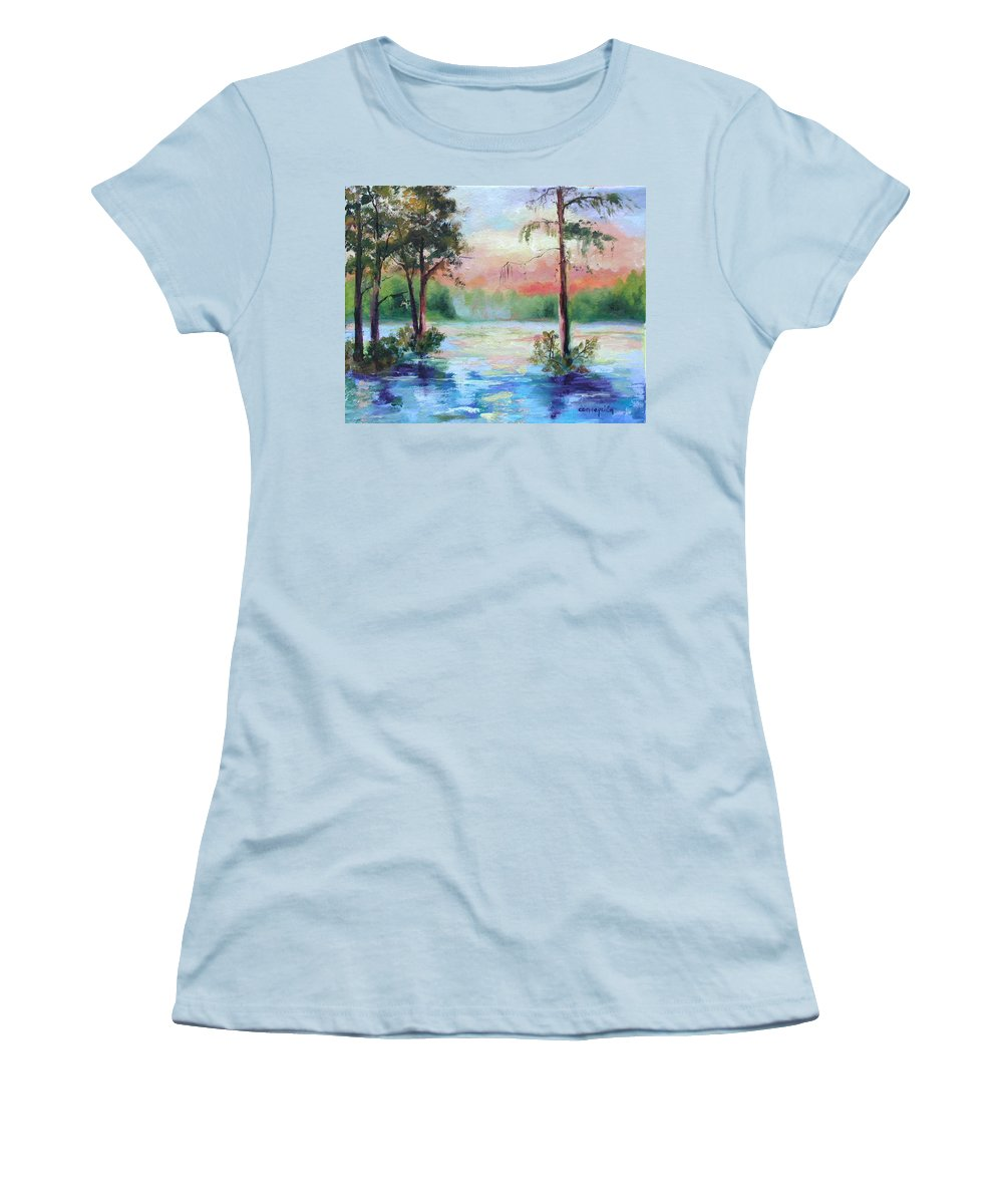 Sunset Women's T-Shirt (Athletic Fit) featuring the painting Sunset Bayou by Ginger Concepcion
