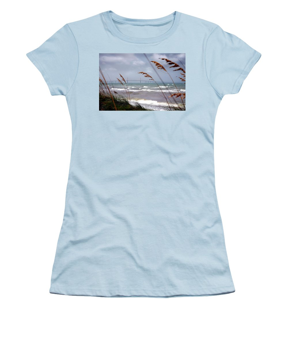 Sunshine Women's T-Shirt (Athletic Fit) featuring the photograph Sunshine Skyway Bridge Viewed From Fort De Soto Park by Mal Bray