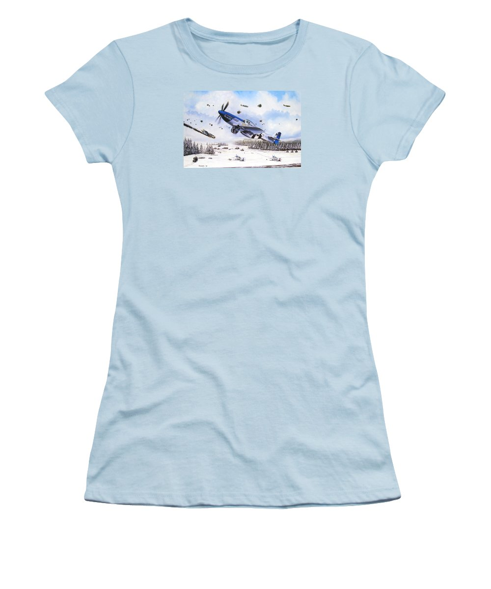 Aviation Women's T-Shirt (Athletic Fit) featuring the painting Surprise At Asch by Marc Stewart
