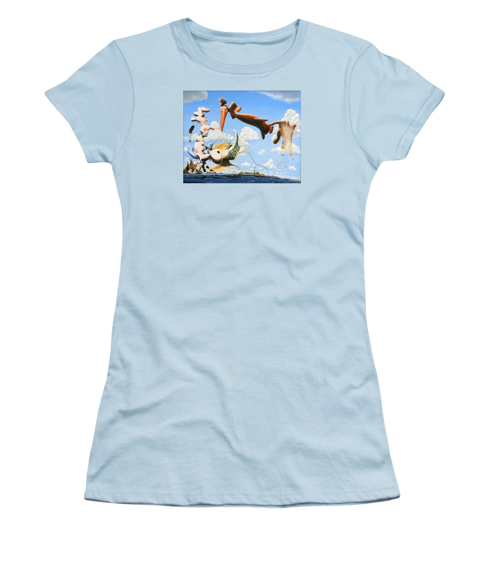 Surreal Women's T-Shirt (Athletic Fit) featuring the painting Surreal Friends by Dave Martsolf