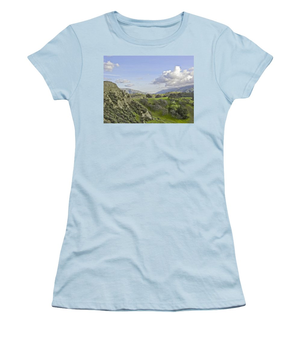 Landscape Women's T-Shirt (Athletic Fit) featuring the photograph Swallow Bay Cliffs by Karen W Meyer