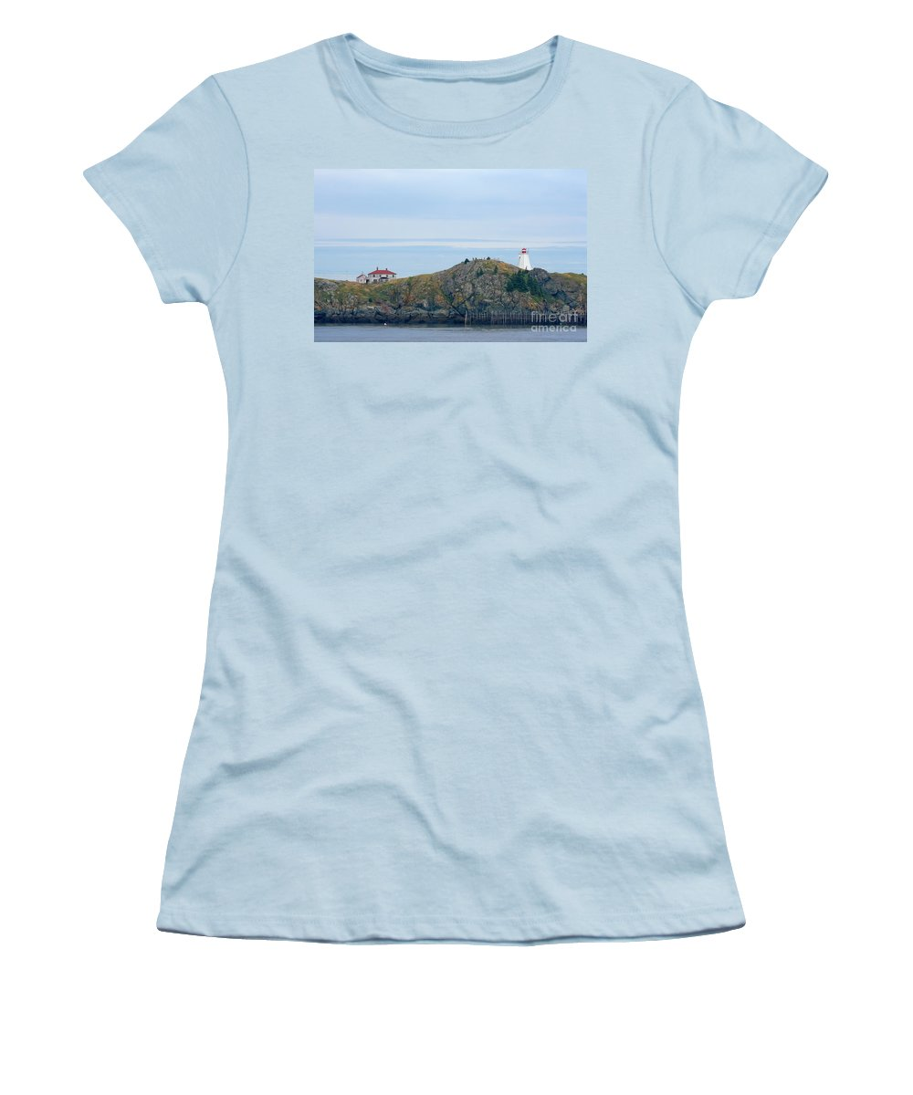 Lighthouse Women's T-Shirt (Athletic Fit) featuring the photograph Swallowtail Lighthouse And Keeper by Thomas Marchessault
