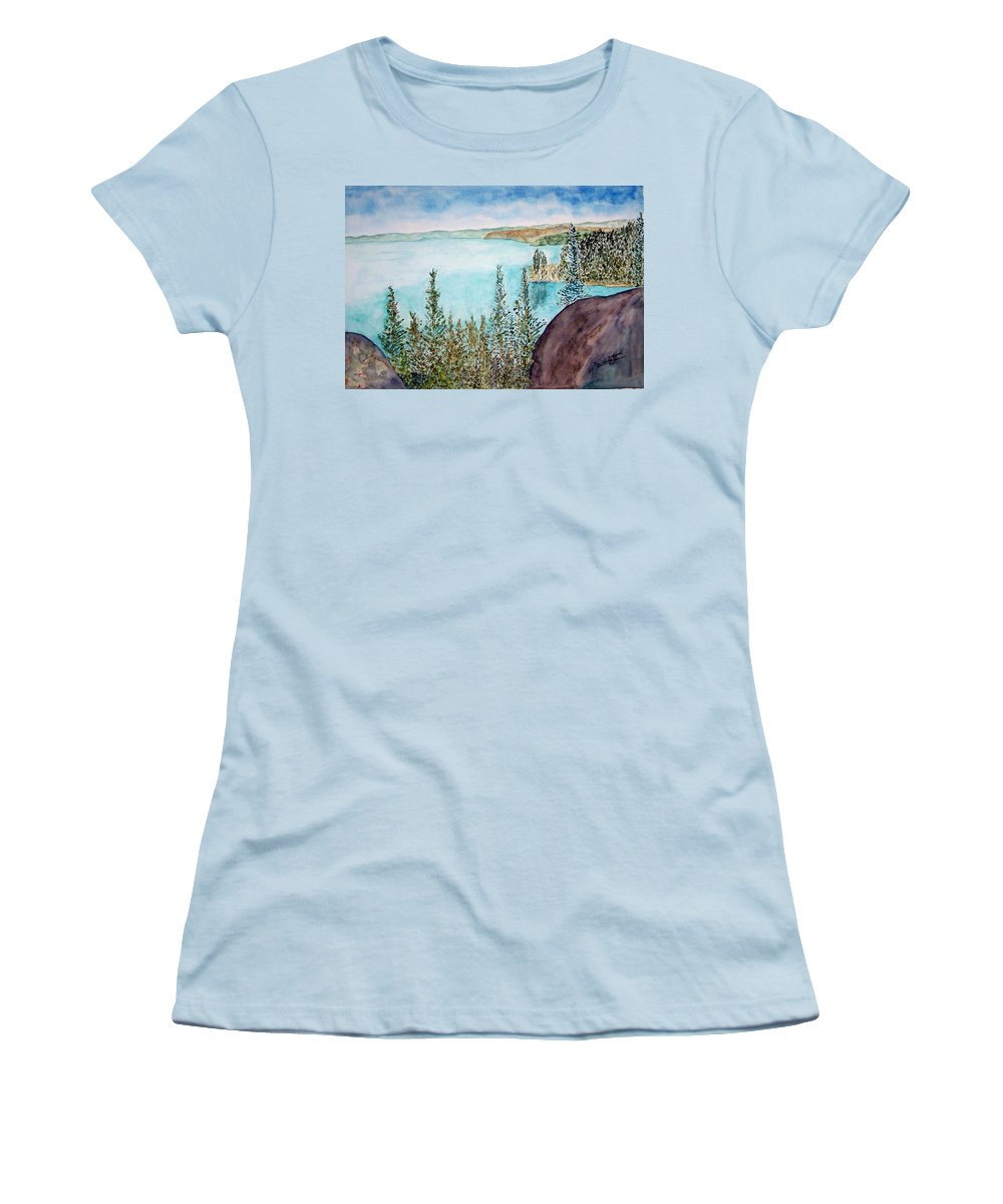 Tahoe Women's T-Shirt (Athletic Fit) featuring the painting Tahoe Remembered by Larry Wright