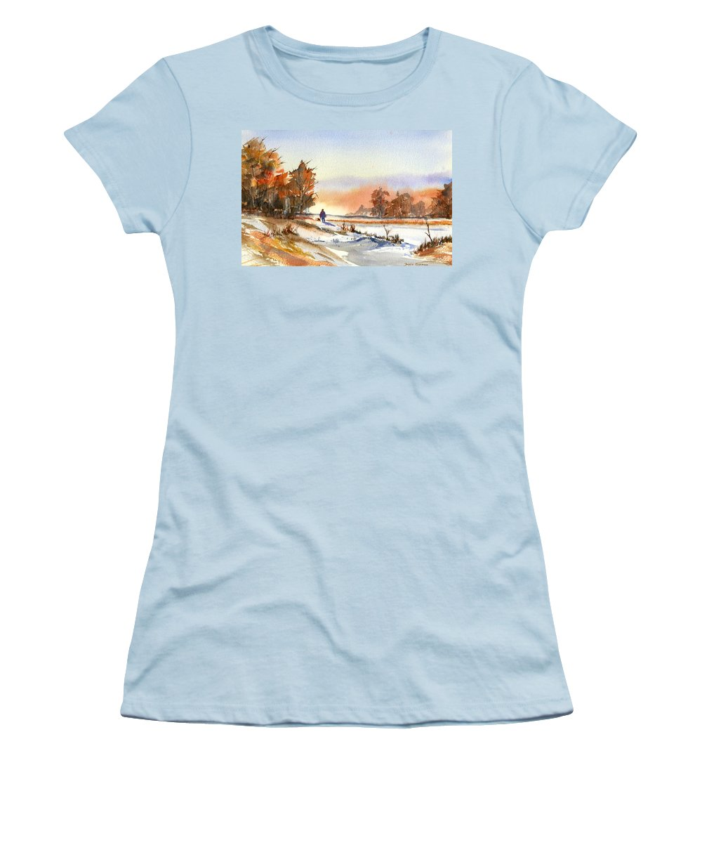 Peaceful Women's T-Shirt (Athletic Fit) featuring the painting Taking A Walk by Debbie Lewis