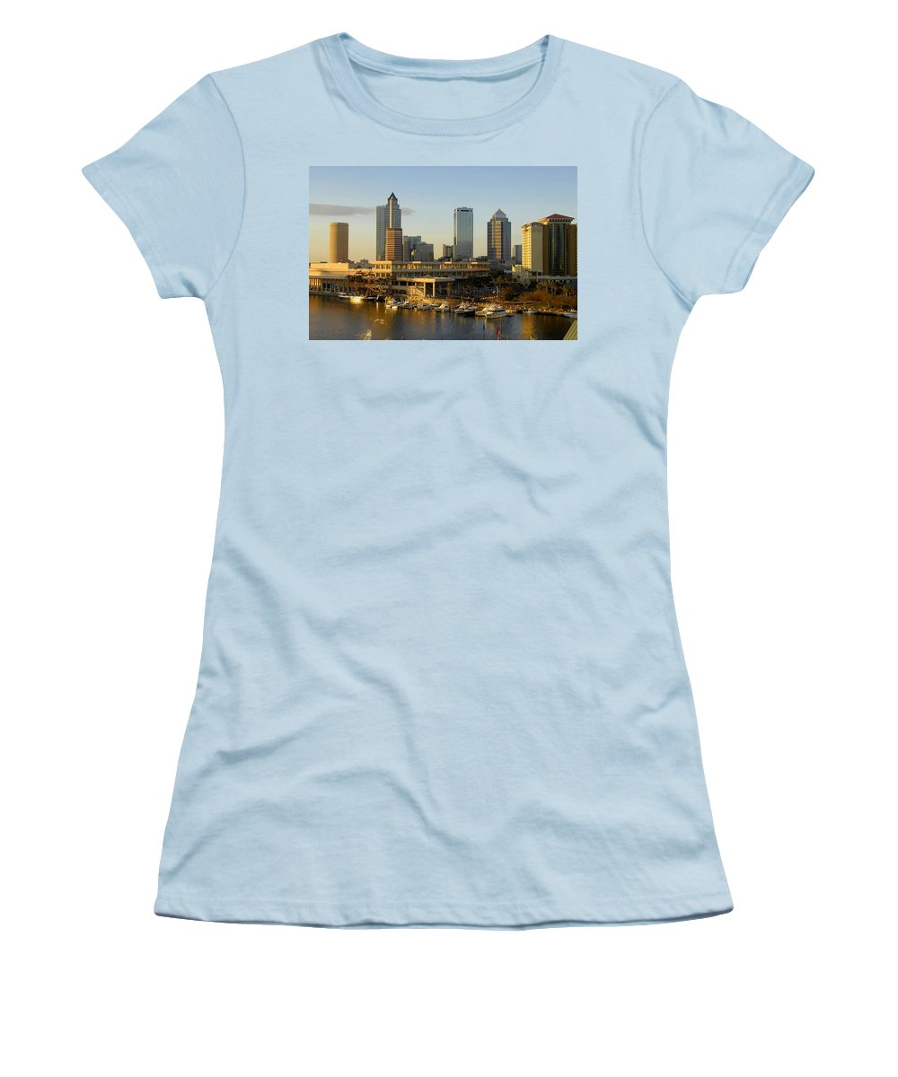 Tampa Bay Florida Women's T-Shirt (Athletic Fit) featuring the photograph Tampa Bay And Gasparilla by David Lee Thompson
