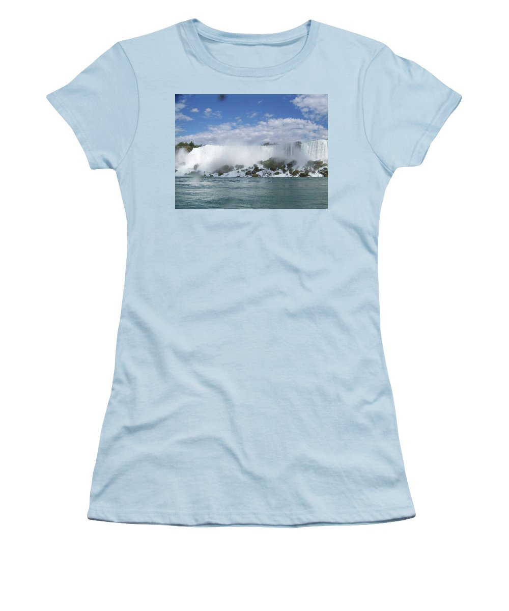 Waterfall Women's T-Shirt (Athletic Fit) featuring the photograph The American Falls At Niagra by Laurie Paci
