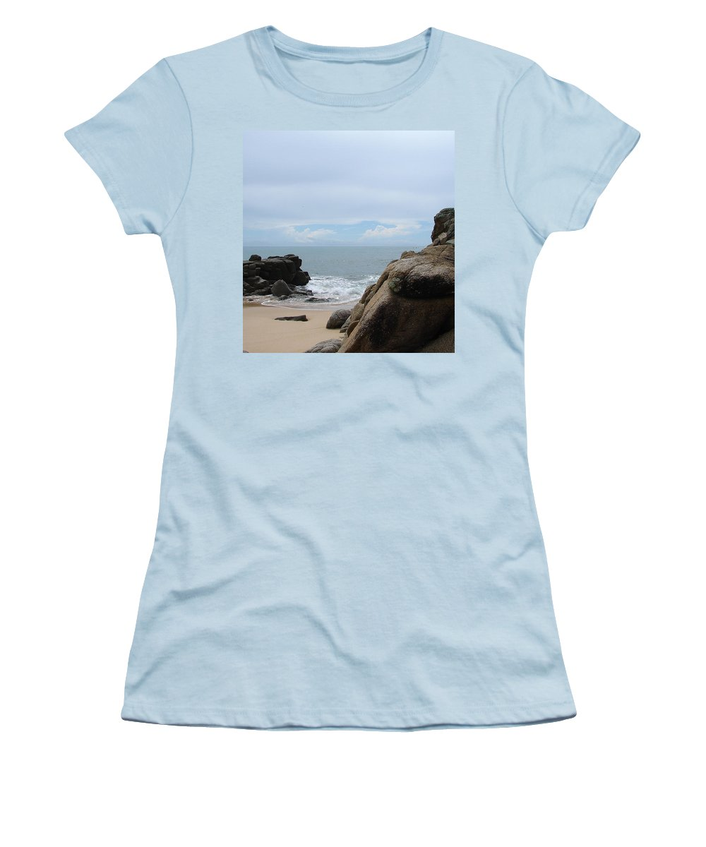 Sand Ocean Clouds Blue Sky Rocks Women's T-Shirt (Athletic Fit) featuring the photograph The Beach 2 by Luciana Seymour