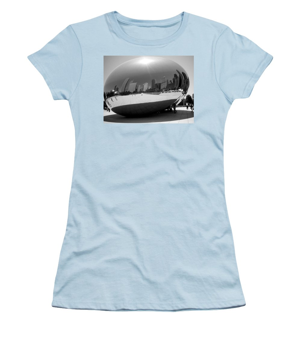 Chicago Women's T-Shirt (Athletic Fit) featuring the photograph The Bean B-w by Anita Burgermeister
