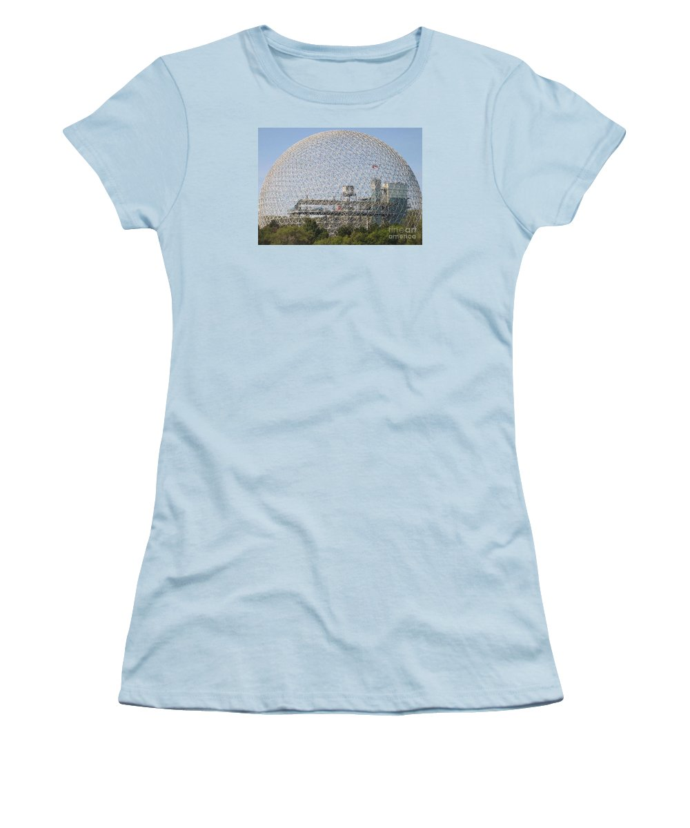 Biosphere Women's T-Shirt (Athletic Fit) featuring the photograph The Biosphere Ile Sainte-helene Montreal Quebec by Reb Frost