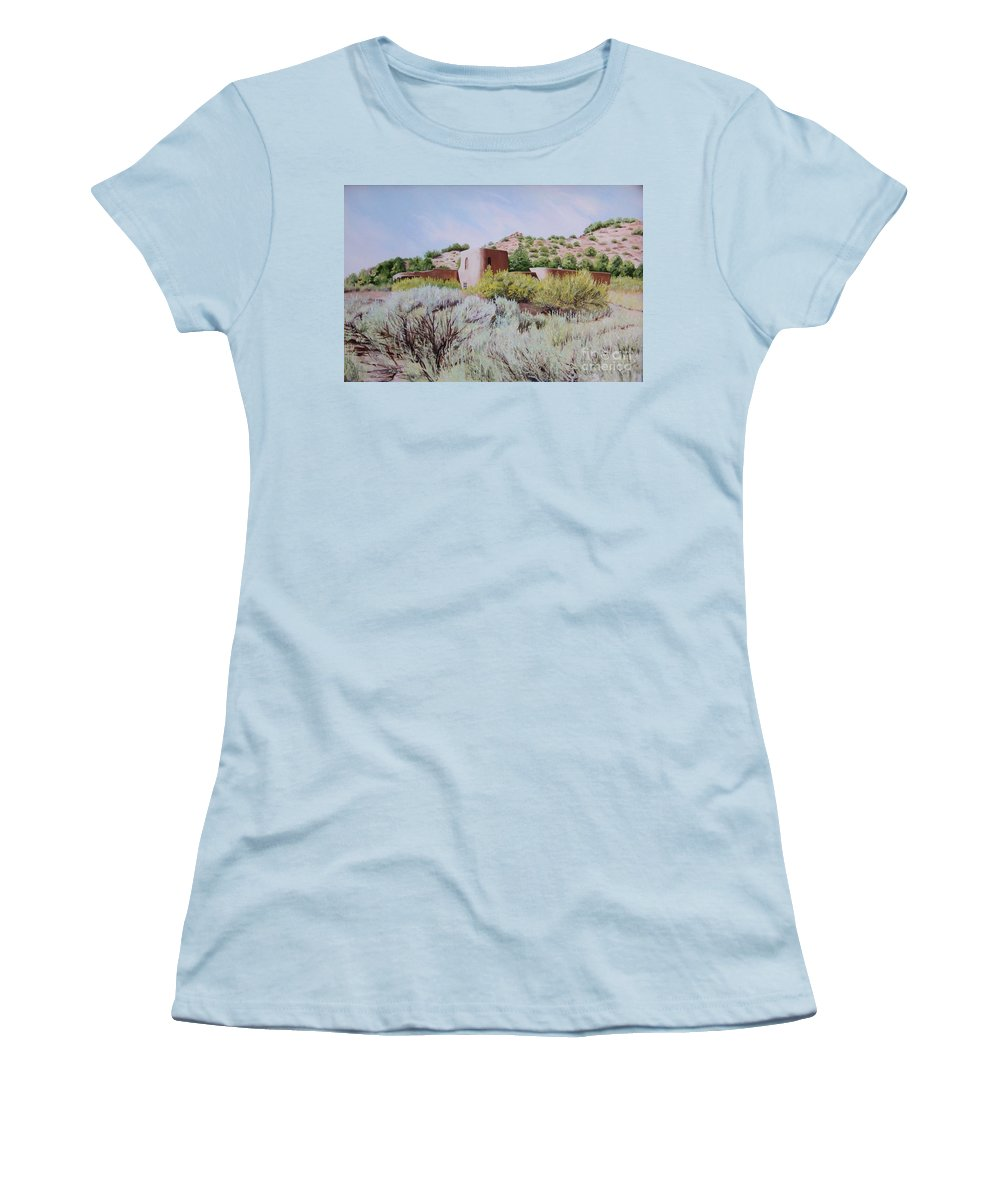 Usa Women's T-Shirt (Athletic Fit) featuring the painting The Dixon House by Mary Rogers