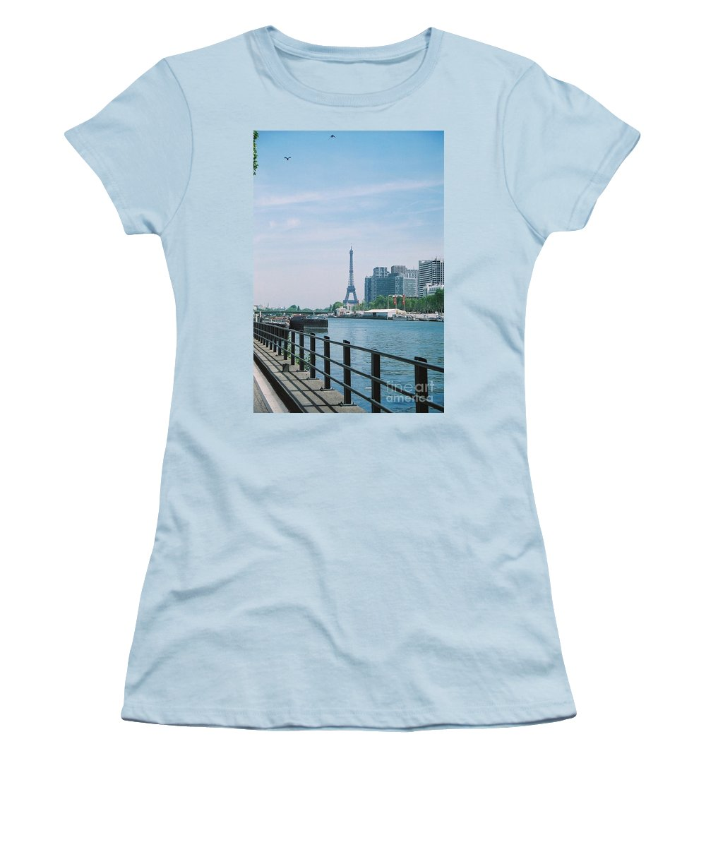 The Eiffel Tower Women's T-Shirt (Athletic Fit) featuring the photograph The Eiffel Tower And The Seine River by Nadine Rippelmeyer