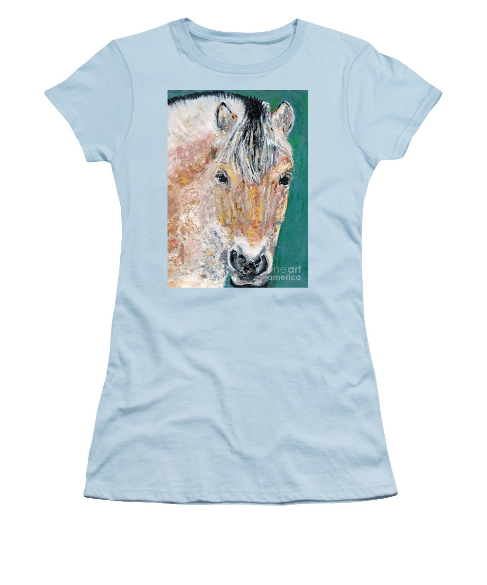 Fijord Horse Women's T-Shirt (Athletic Fit) featuring the painting The Fijord by Frances Marino