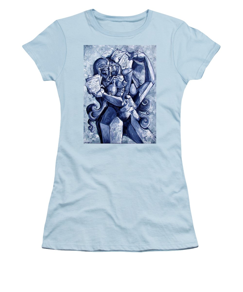 Surrealism Women's T-Shirt (Athletic Fit) featuring the painting The Letters by Darwin Leon