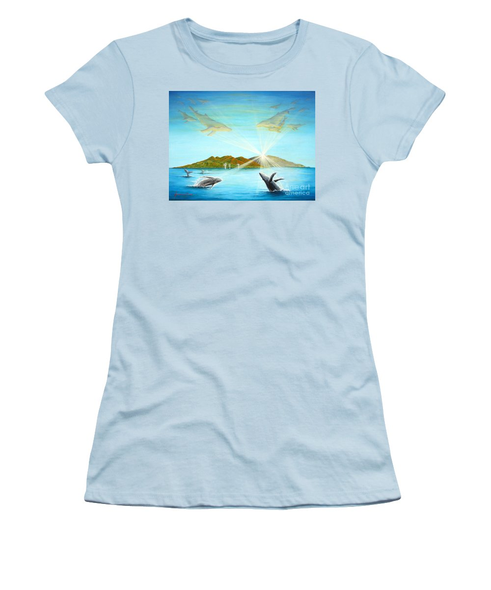 Whales Women's T-Shirt (Athletic Fit) featuring the painting The Whales Of Maui by Jerome Stumphauzer