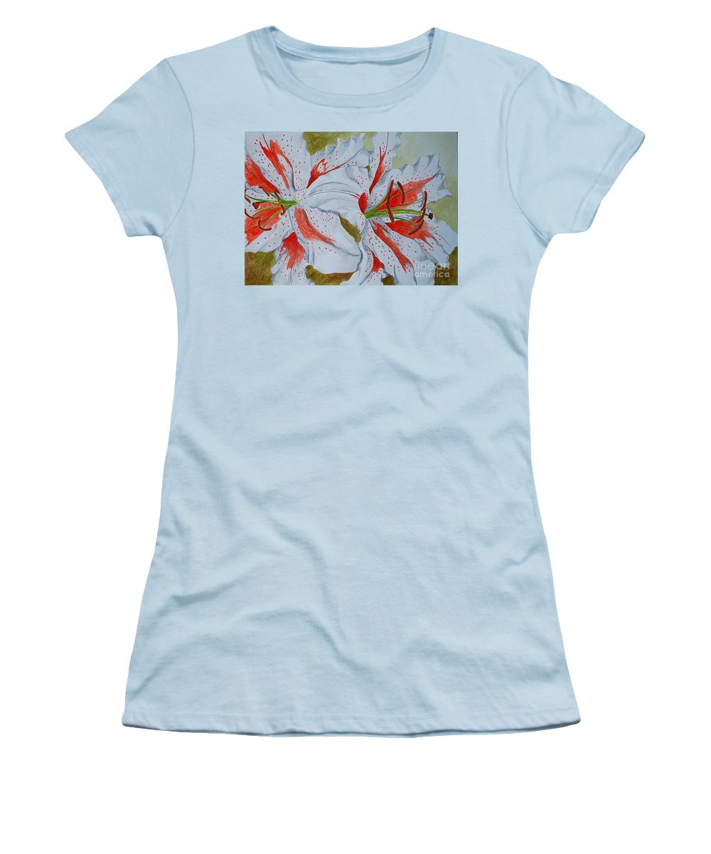 Lilly Red Lilly Tiger Lilly Women's T-Shirt (Athletic Fit) featuring the painting Tiger Lilly by Herschel Fall