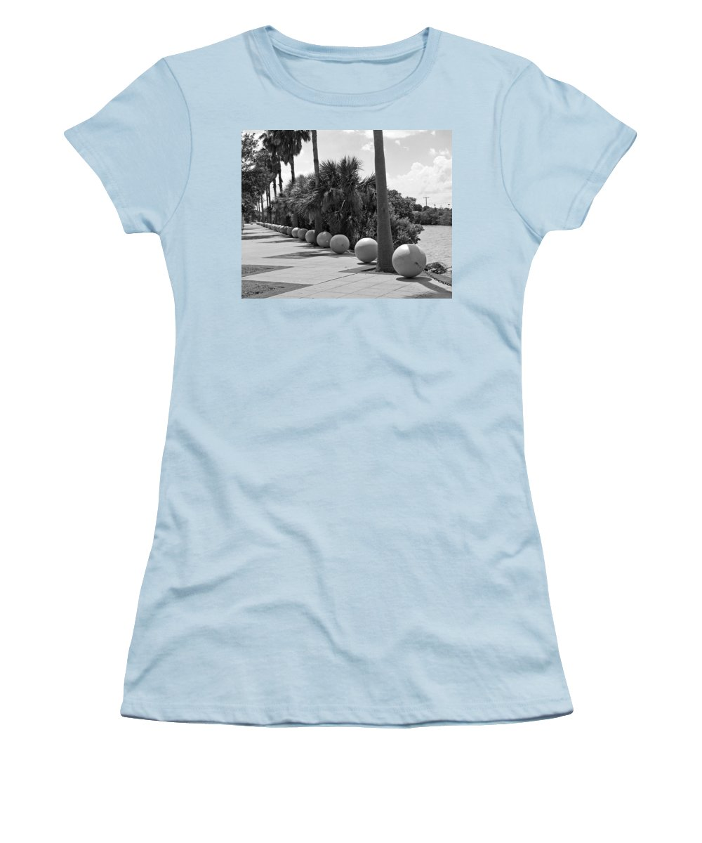 Florida; Titusville; Space; Coast; Astronauts; Astronaut; Cape; Canaveral; Mercury; Project; Freedom Women's T-Shirt (Athletic Fit) featuring the photograph Titusville On The Indian River Lagoon In Florida by Allan Hughes