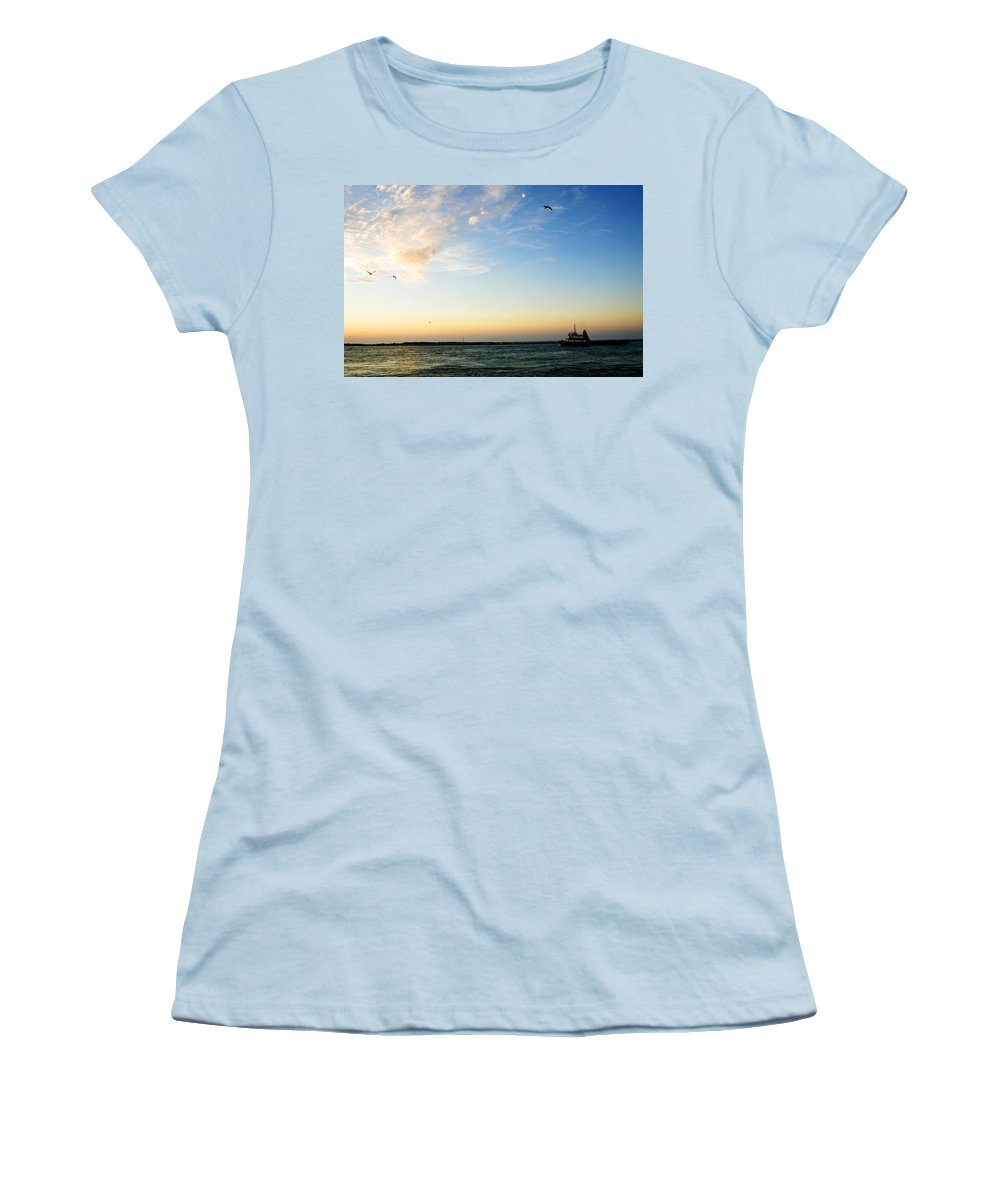 Sip Women's T-Shirt (Athletic Fit) featuring the photograph Travels At Sunset by Marilyn Hunt
