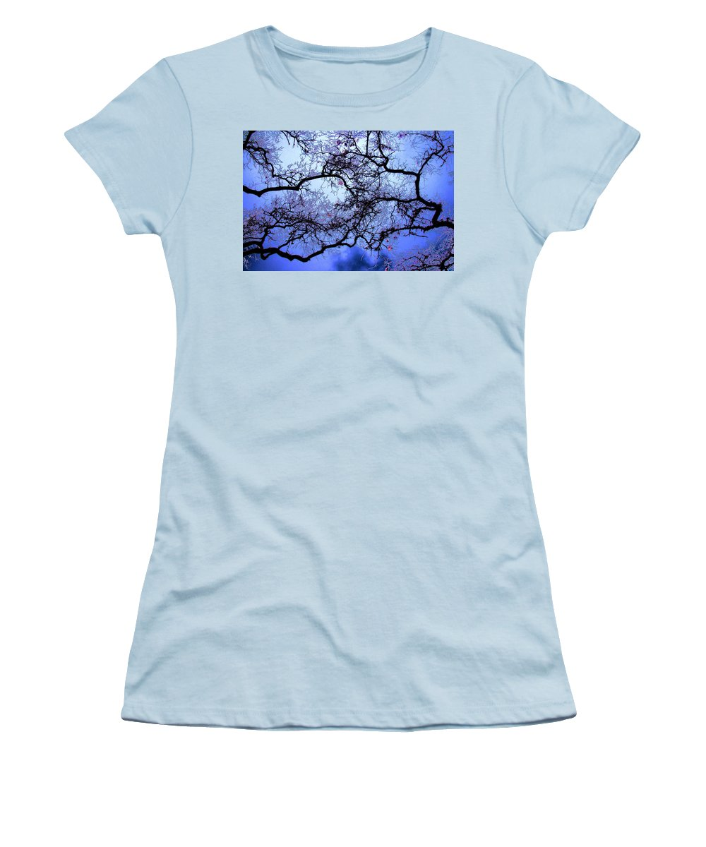 Scenic Women's T-Shirt (Athletic Fit) featuring the photograph Tree Fantasy In Blue by Lee Santa