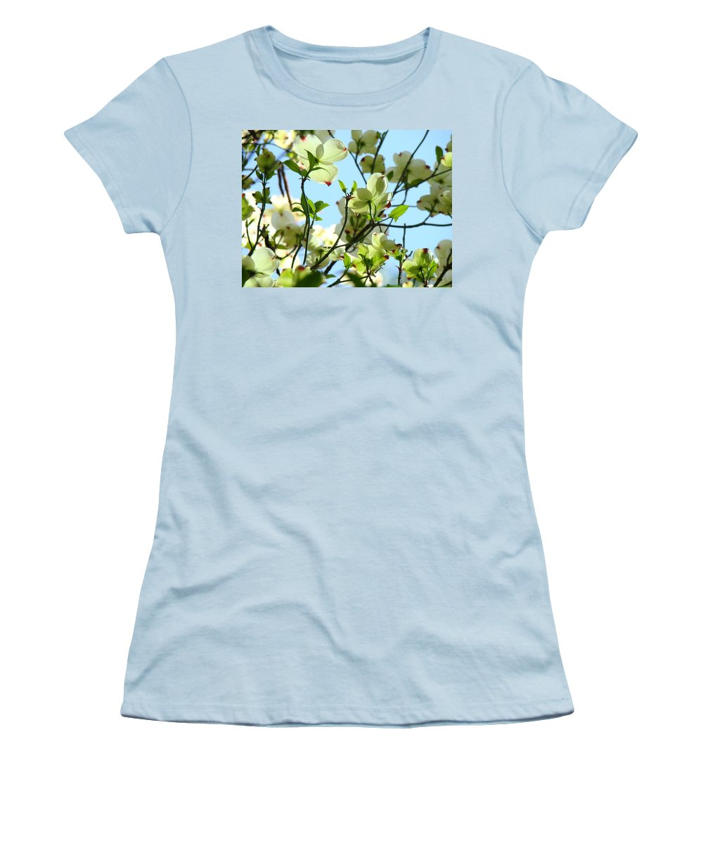 Dogwood Women's T-Shirt (Athletic Fit) featuring the photograph Trees White Dogwood Flowers 9 Blue Sky Landscape Art Prints by Baslee Troutman