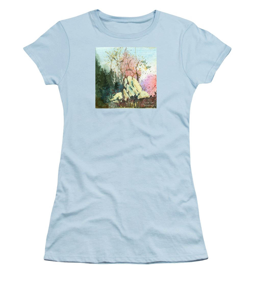 Landscape Women's T-Shirt (Athletic Fit) featuring the painting Triptych Panel 1 by Lynn Quinn