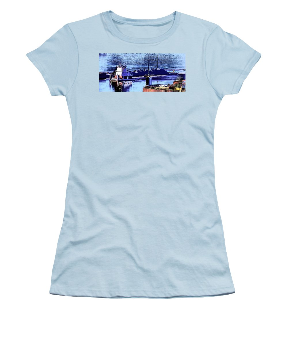 Abstract Women's T-Shirt (Athletic Fit) featuring the photograph Tug Reflections by Rachel Christine Nowicki
