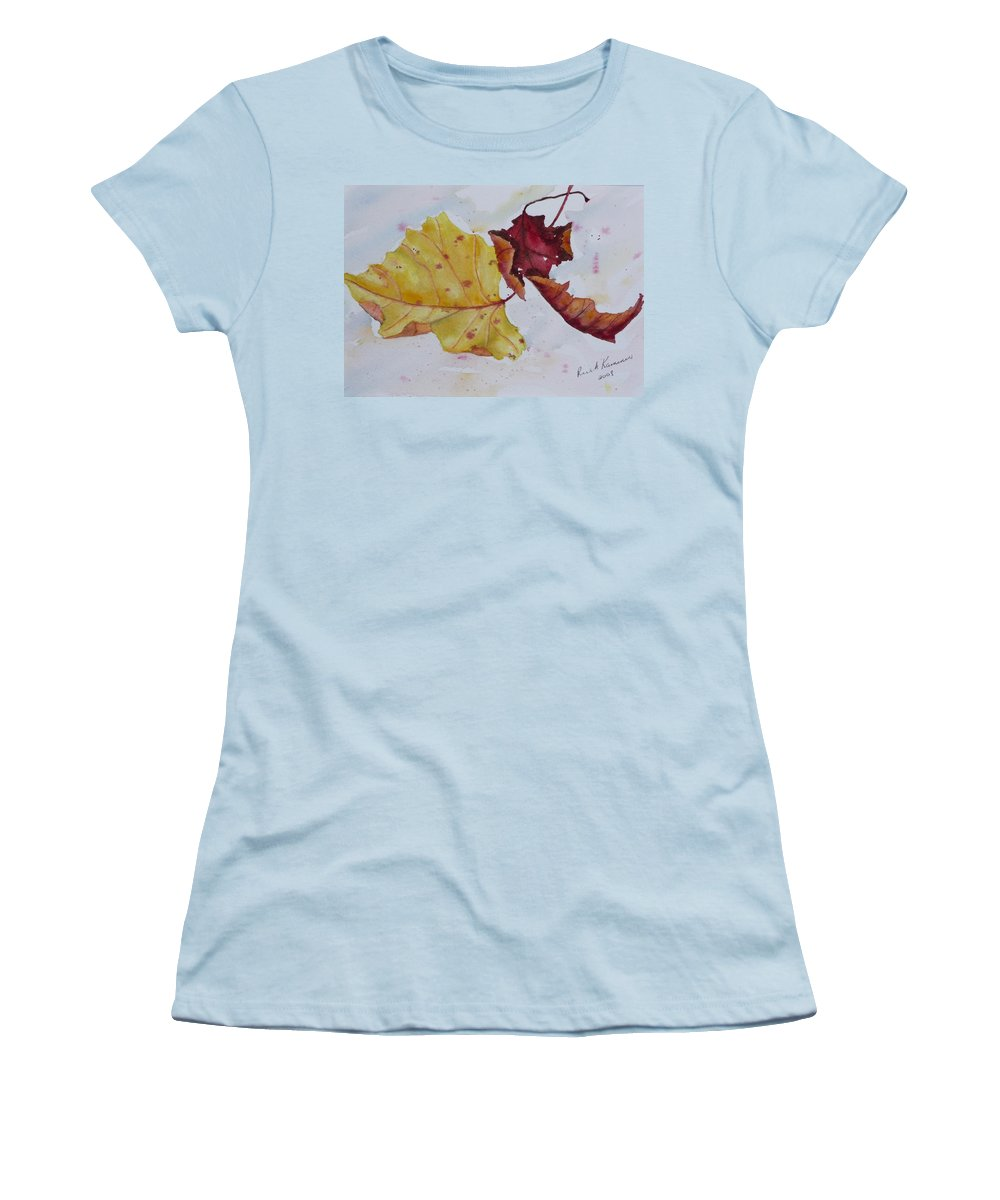Fall Women's T-Shirt (Athletic Fit) featuring the painting Tumbling by Ruth Kamenev