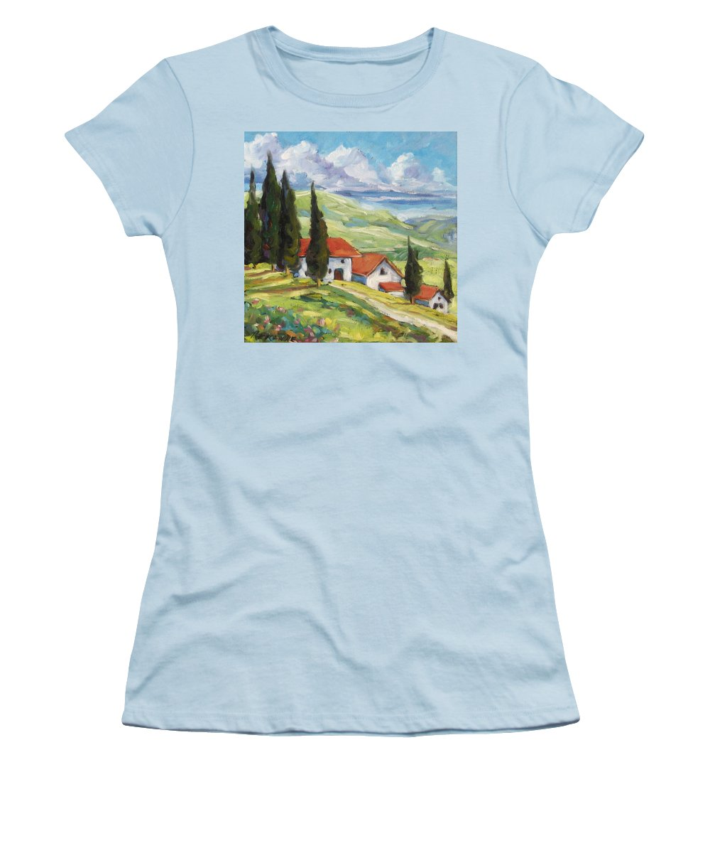 Tuscan Women's T-Shirt (Athletic Fit) featuring the painting Tuscan Villas by Richard T Pranke