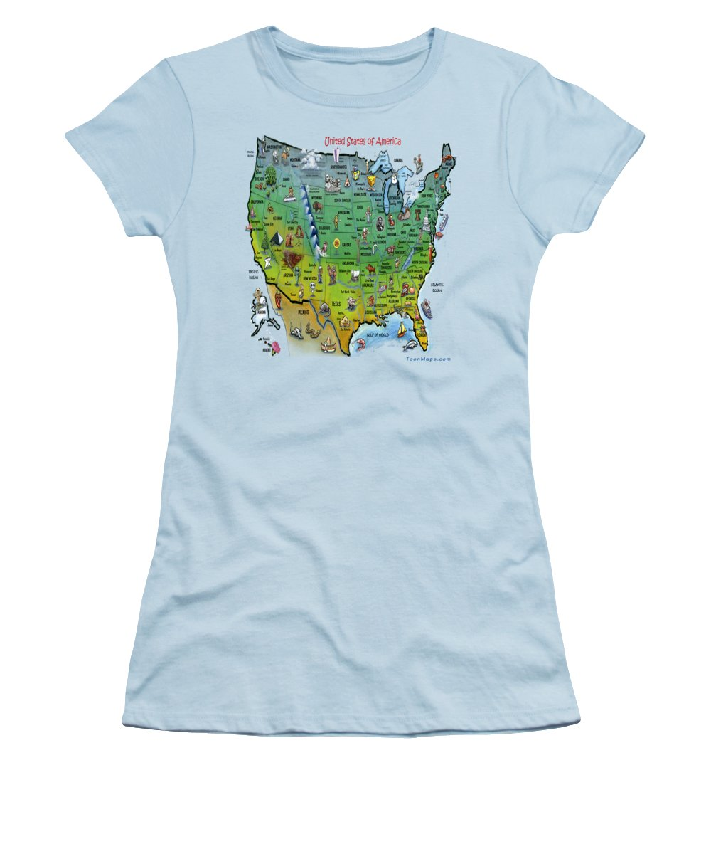Map Women's T-Shirt (Athletic Fit) featuring the painting Usa Cartoon Map by Kevin Middleton