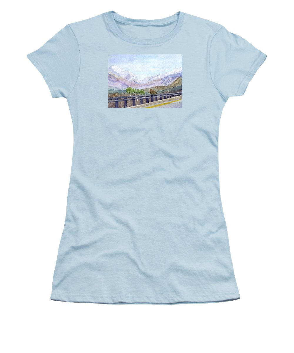 Franconia Notch Women's T-Shirt (Athletic Fit) featuring the painting View Of Franconia Notch by Sharon E Allen