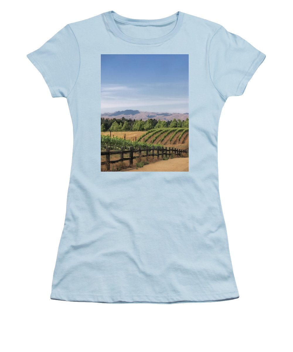 Landscapes Women's T-Shirt (Athletic Fit) featuring the photograph Vineyard by Karen W Meyer