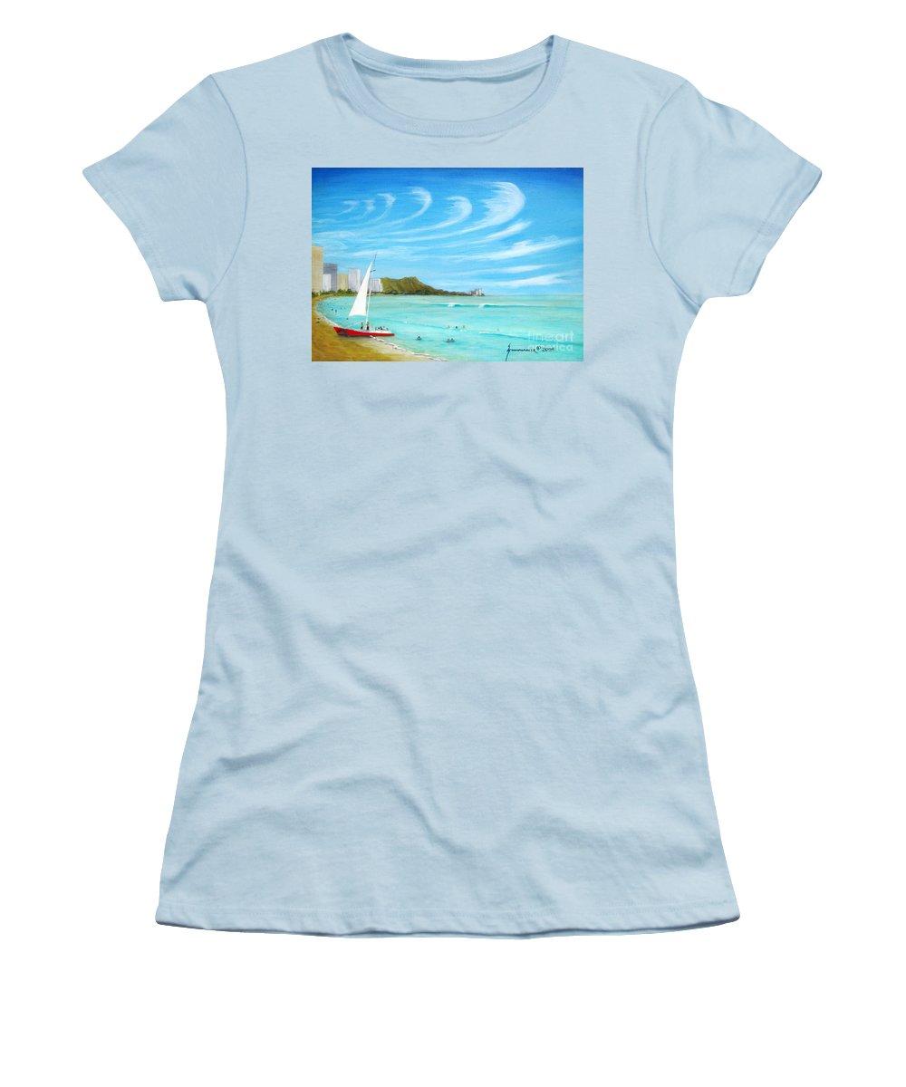 Waikiki Women's T-Shirt (Athletic Fit) featuring the painting Waikiki by Jerome Stumphauzer