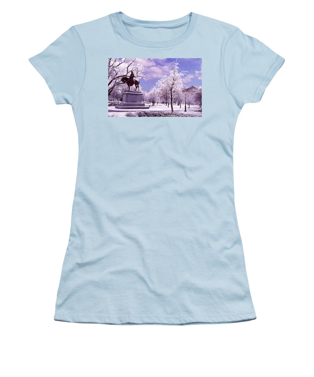 Landscape Women's T-Shirt (Athletic Fit) featuring the photograph Washington Square Park by Steve Karol