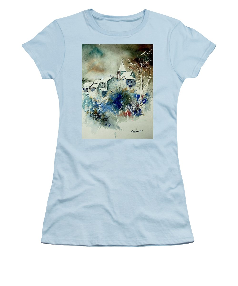 Winter Women's T-Shirt (Athletic Fit) featuring the painting Watercolor 140408 by Pol Ledent